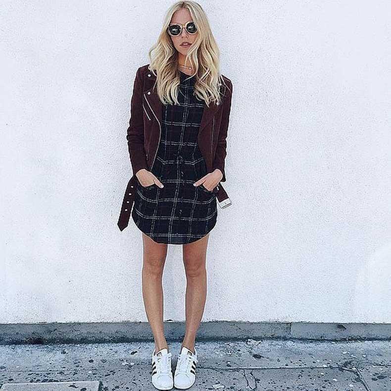 Plaid-Dress-Suede-Jacket-Sneakers