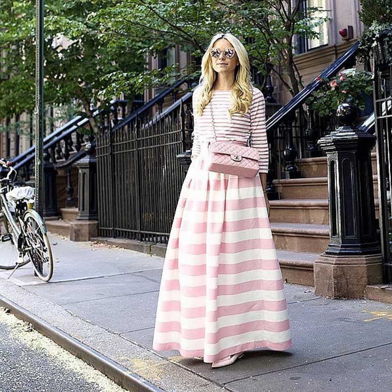 Striped-Maxi-Skirt-Coordinated-Top-Statement-Bag