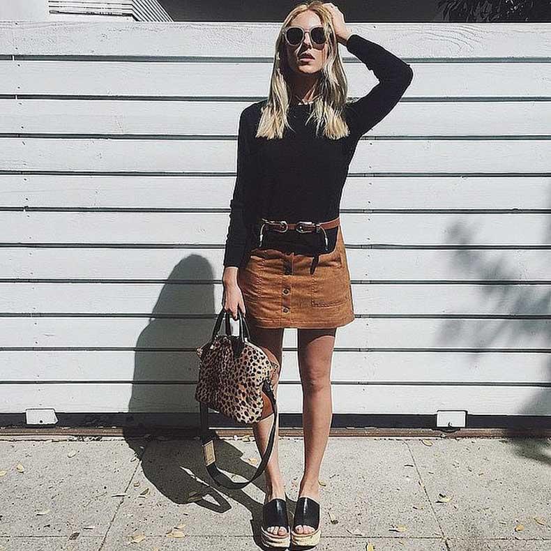 Suede-Skirt-Black-Top-Belt-Platform-Sandals