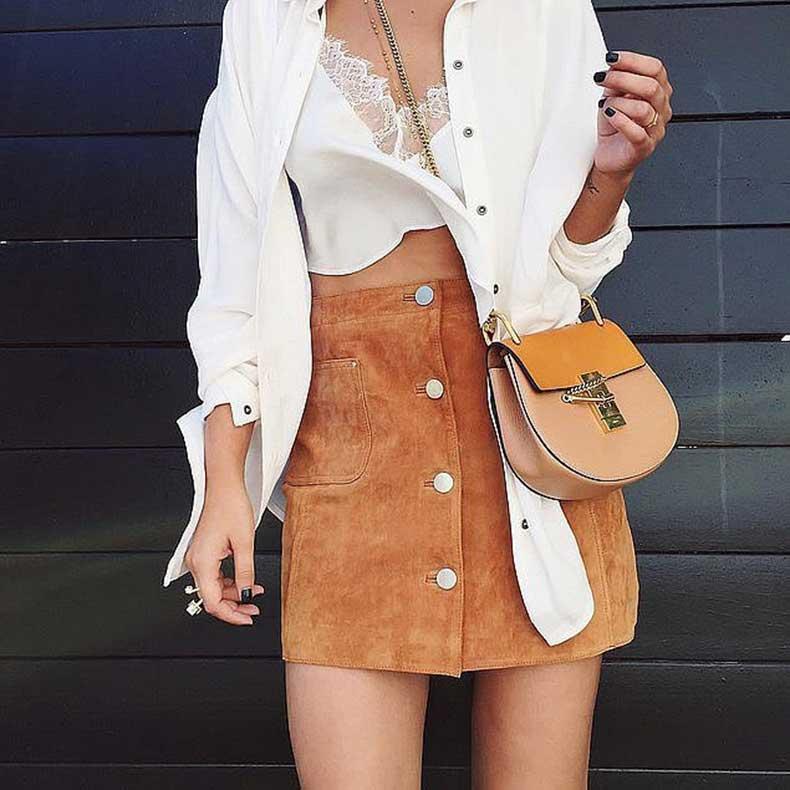 Suede-Skirt-Crop-Top-Button-Down