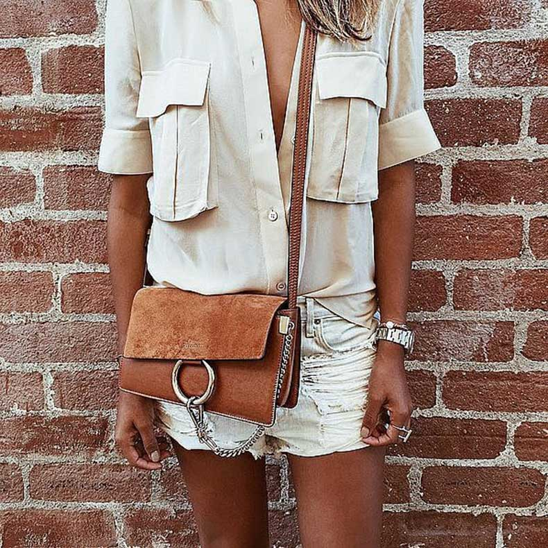 White-Denim-Shorts-Silk-Button-Down-Shoulder-Bag