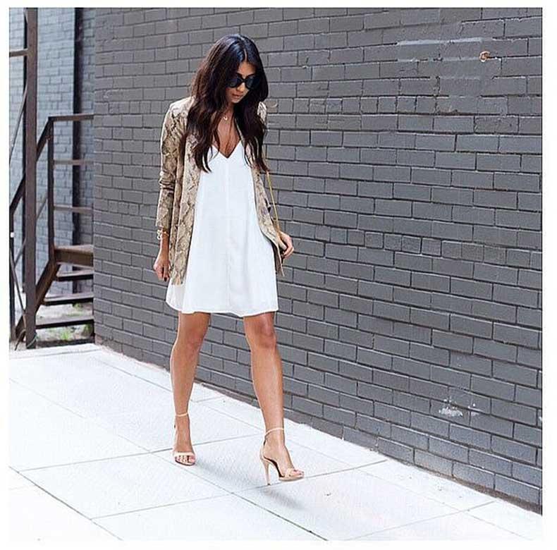 White-Dress-Nude-Sandals-Printed-Blazer