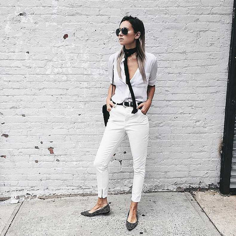 White-Jeans-White-Button-Down-Skinny-Scarf-Flats
