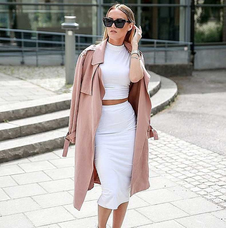 White-Matching-Set-Rose-Colored-Trench