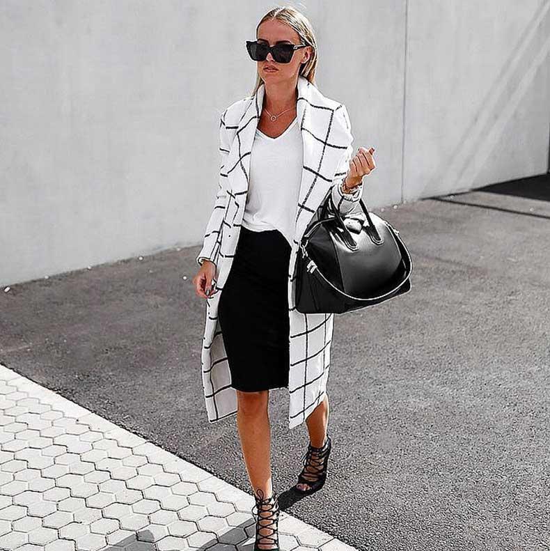 White-Tee-Black-Pencil-Skirt-Statement-Coat-Heels