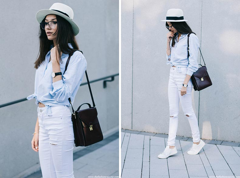 classic-blue-shirt-asos-white-ripped-jeans-white-straw-hat-sneakers-outfit-1