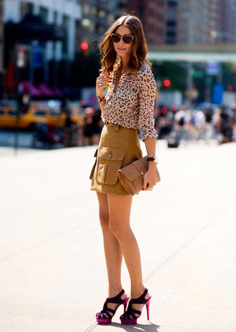 oliva-palermo-street-style-purple-high-heeled-sandals-short-khaki-skrit-leopard-print-blouse-shirt-tortoise-shell-sunglasses
