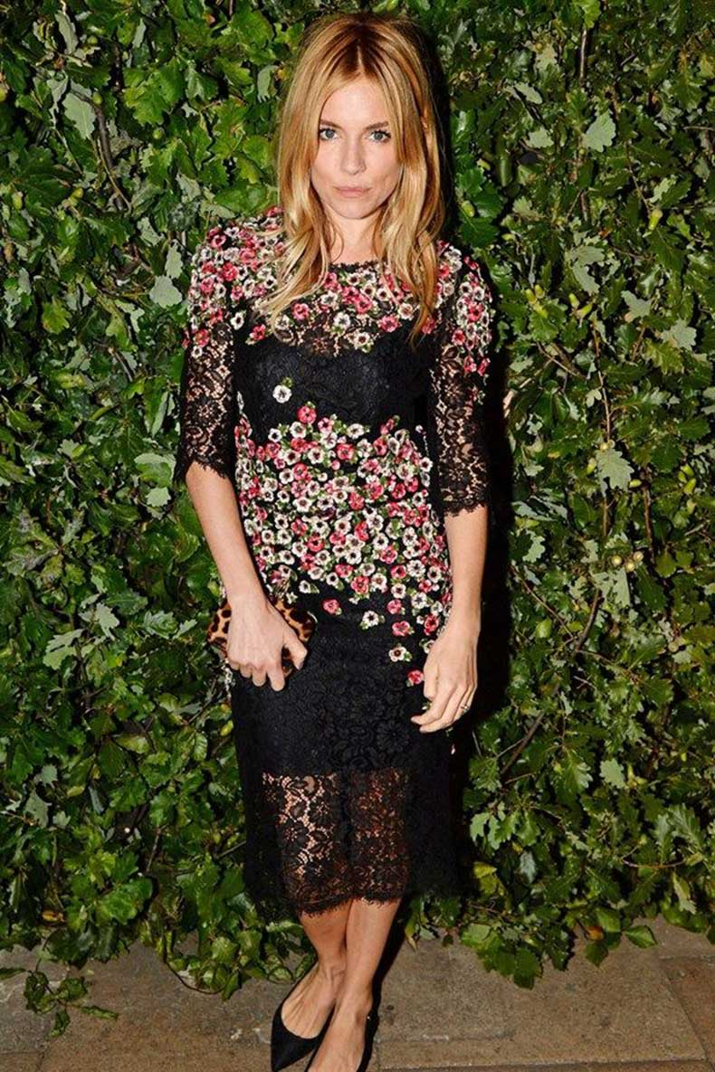 sienna-miller-floral-lace-black-midi-dress-party-evening-giong-out-night-out-via-getty
