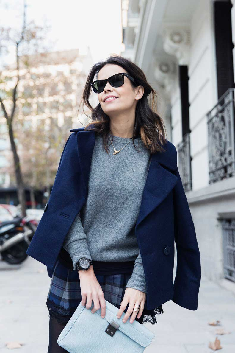 Checked_Skirt-Cashmere_Sweater-Navy_Jacket-Loafers-Outfit-Street_Style-Collage_Vintage-27-790x1185