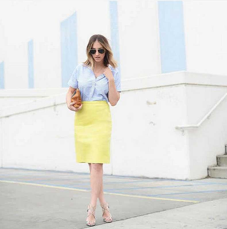 Colored-Skirt-Striped-Button-Down-Nude-Heels