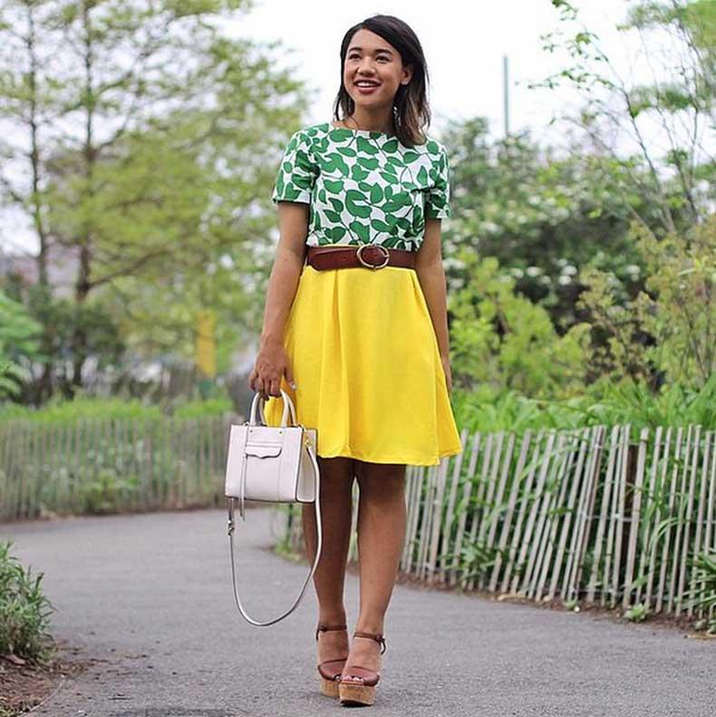 Colorful-Skirt-Printed-Top-Heels