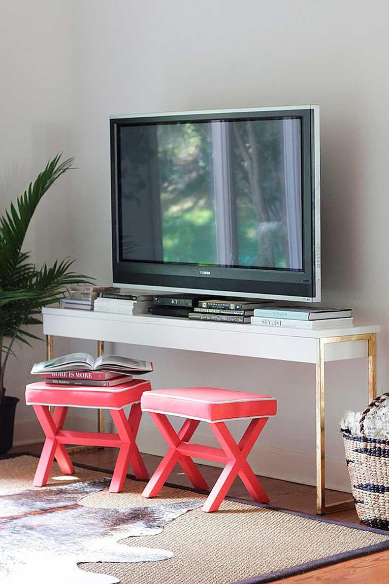 Create-glamorous-TV-console-adding-gold-leaf-Ikea-desk