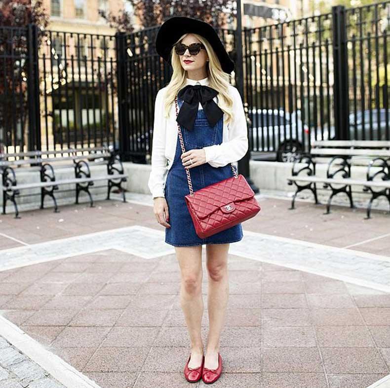 Denim-Overall-Dress-White-Button-Down-Flats