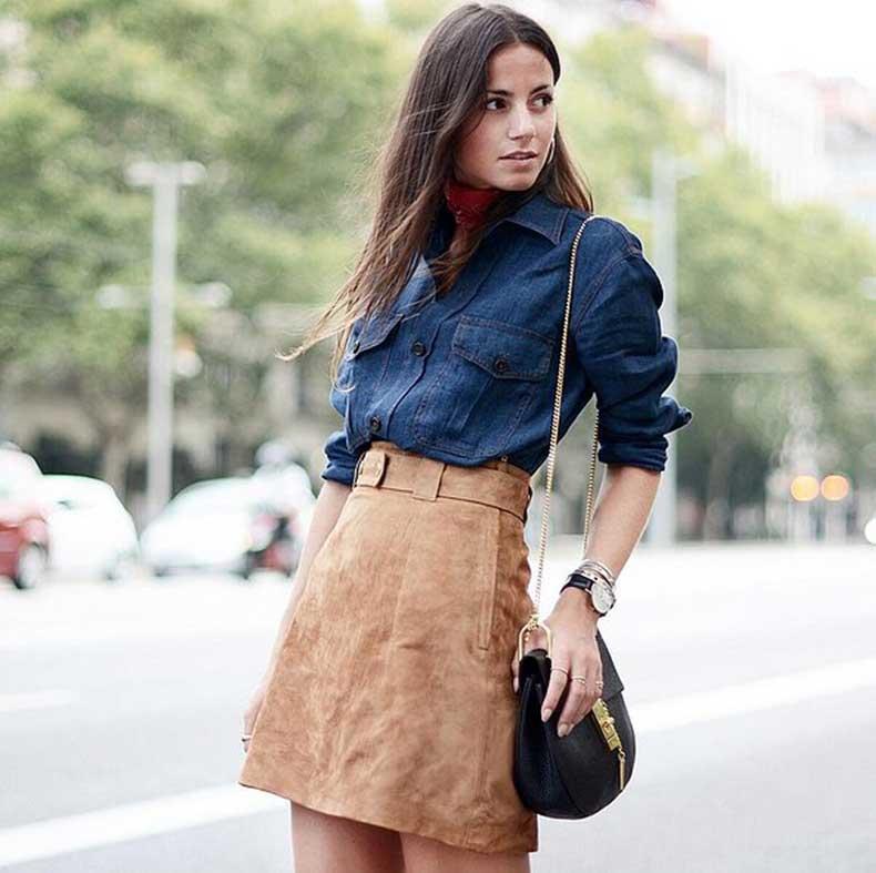 Denim-Top-Suede-Skirt