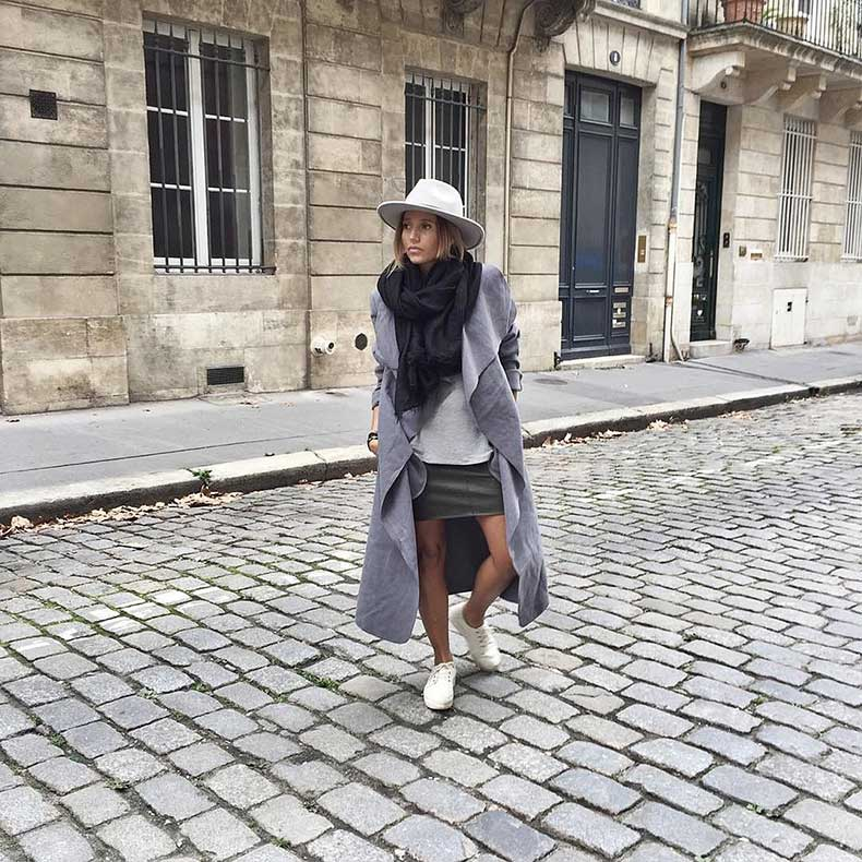Duster-Scarf-Sweater-Skirt-Sneakers-Hat