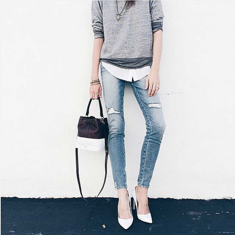 Elevated-Sweatshirt-Over-Button-Down-Jeans-Heels