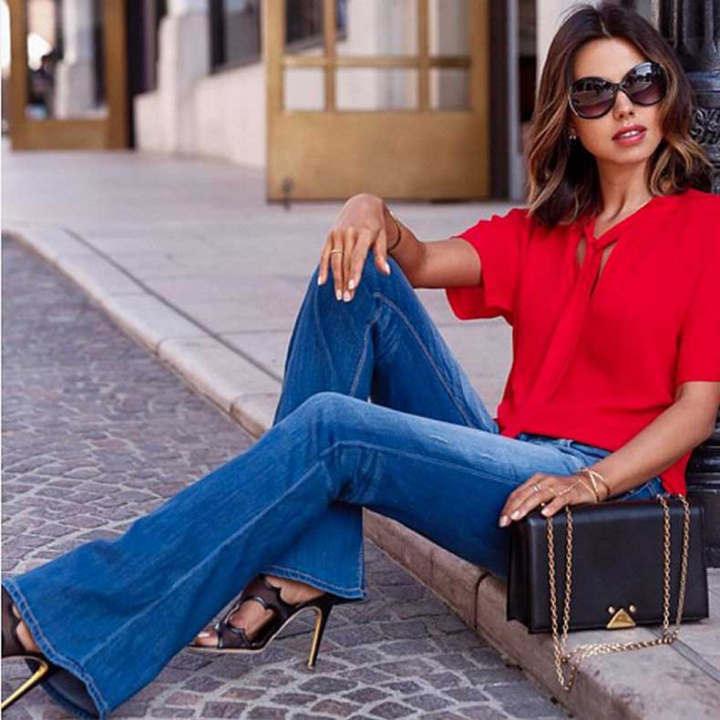 Flared-Jeans-Silk-Top-Heels