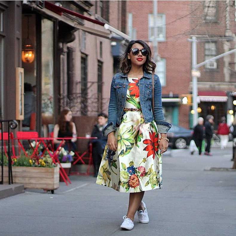 Floral-Dress-Topped-Jean-Jacket