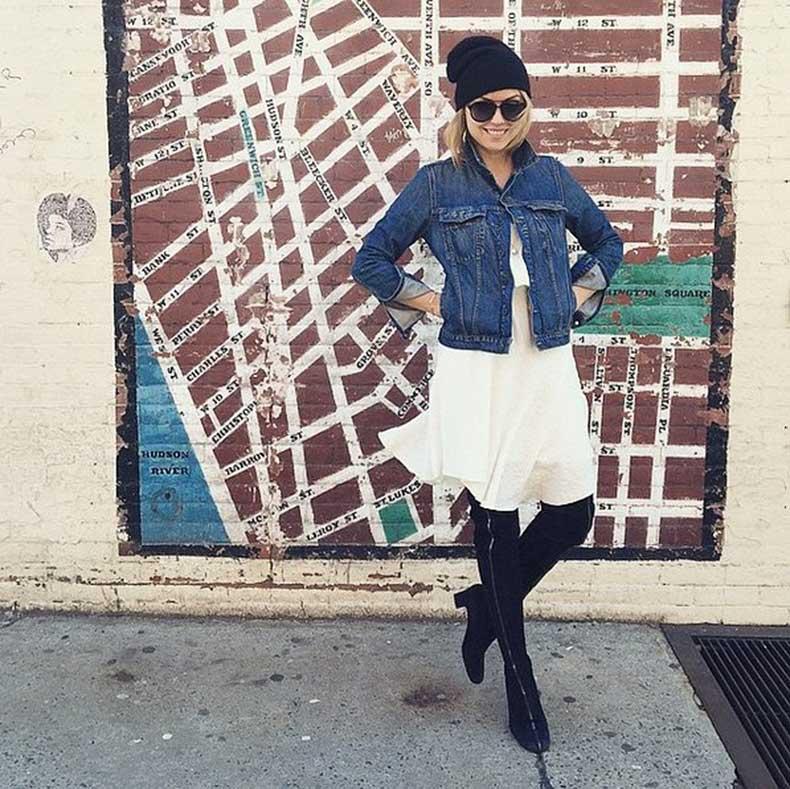 Flowy-Dress-Denim-Jacket-Tall-Boots