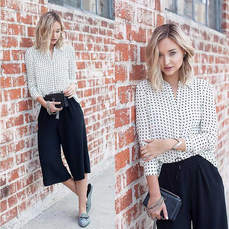 Graphic-Button-Down-Black-Culottes-Loafers