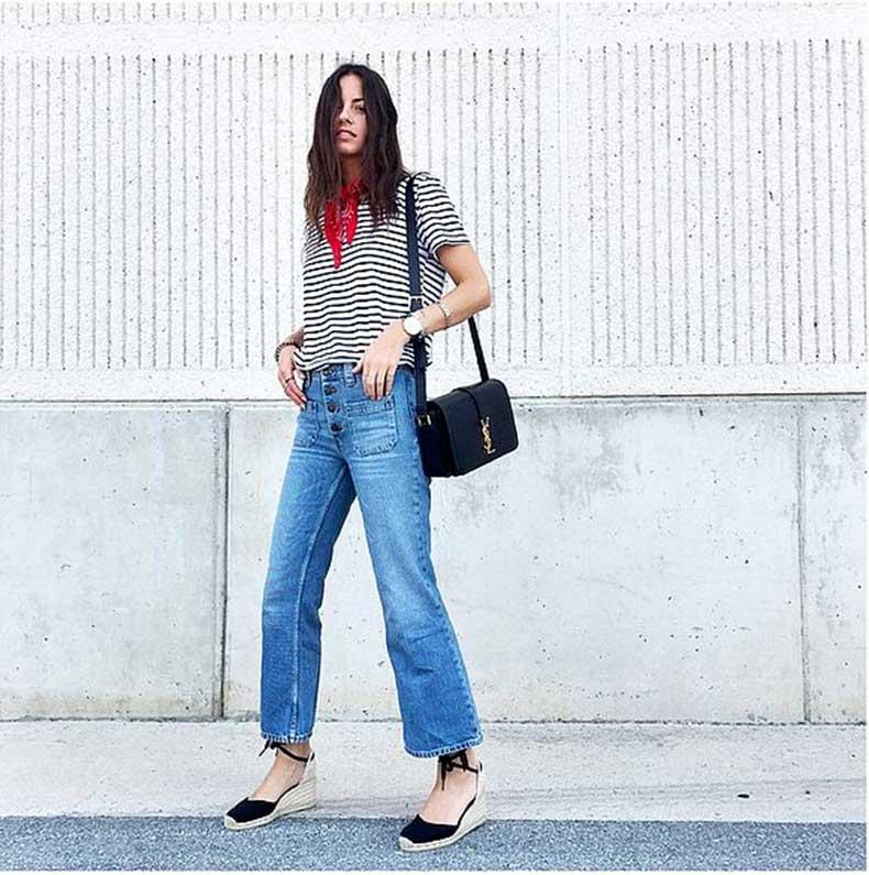 High-Waisted-Jeans-Striped-Shirt-Espadrilles