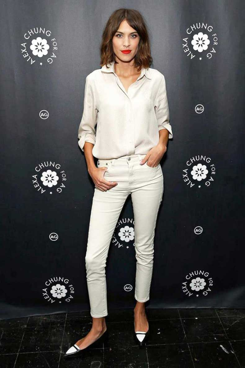 Le-Fashion-Blog-Alexa-Chung-Ivory-Off-White-Button-Down-Shirt-Skinny-Brianna-AG-Jeans-Two-Tone-Tabitha-Simmons-Flats
