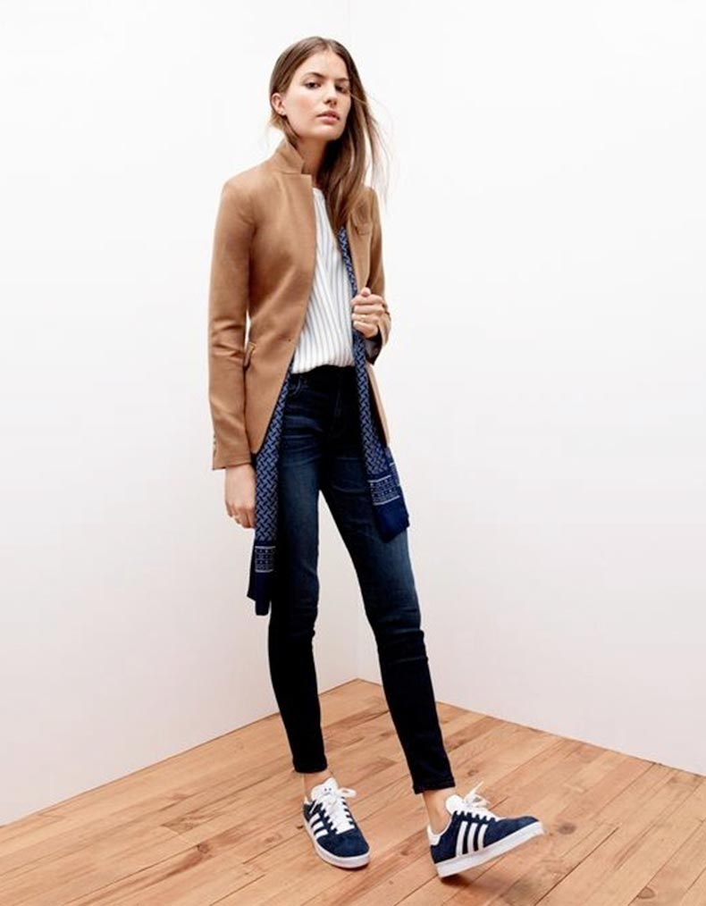 Le-Fashion-Blog-Camel-Blazer-Pinstripe-Top-Silk-Scarf-Skinny-Jeans-Adidas-Sneakers-Via-JCrew