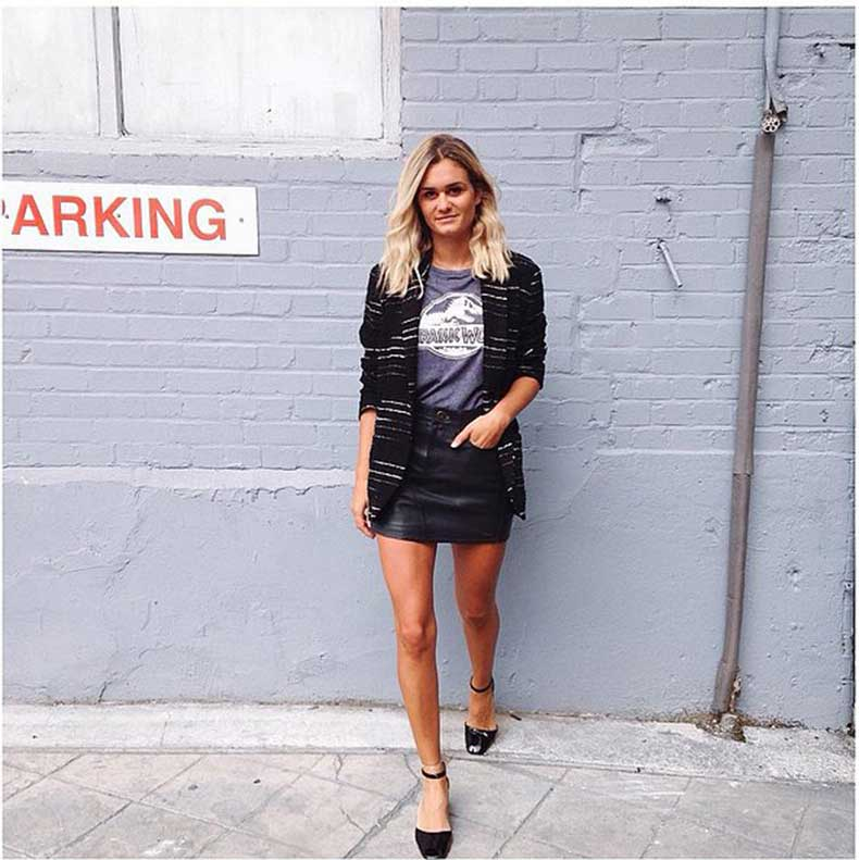Leather-Skirt-Tee-Blazer