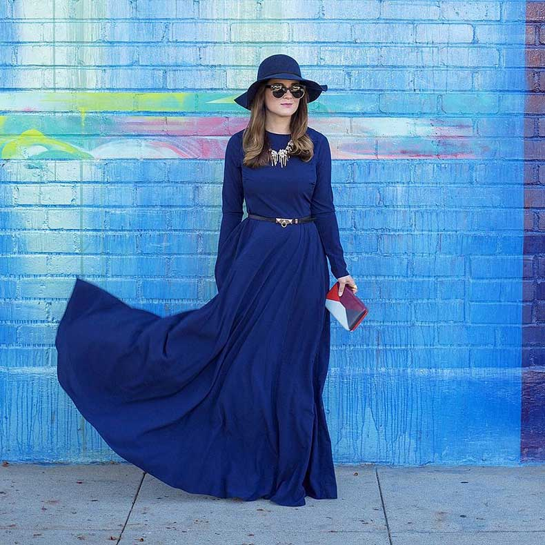 Long-Sleeved-Maxi-Dress-Wide-Brim-Hat