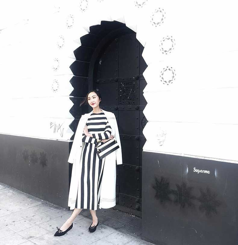 Long-Sleeved-Striped-Dress-Long-Coat-Loafers