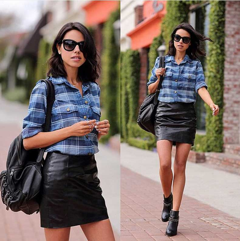 Plaid-Top-Leather-Skirt-Booties