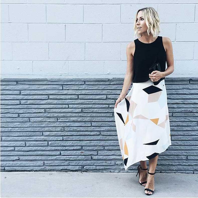 Printed-Skirt-Crop-Top-Heels