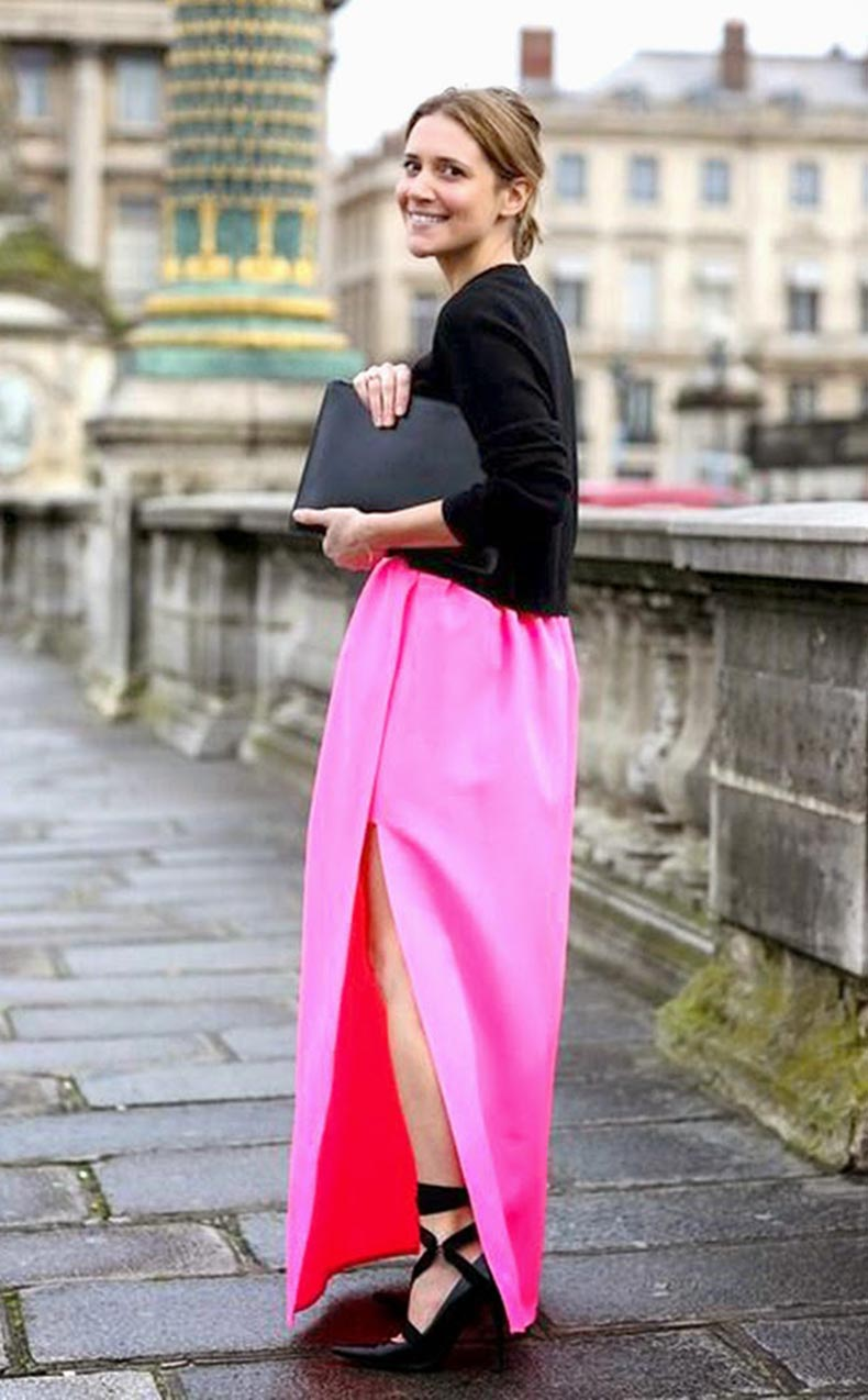 Street-Style-Snapshot---Mixing-a-Pink-Long-Maxi-Dress-with-a-Black-Sweater-02