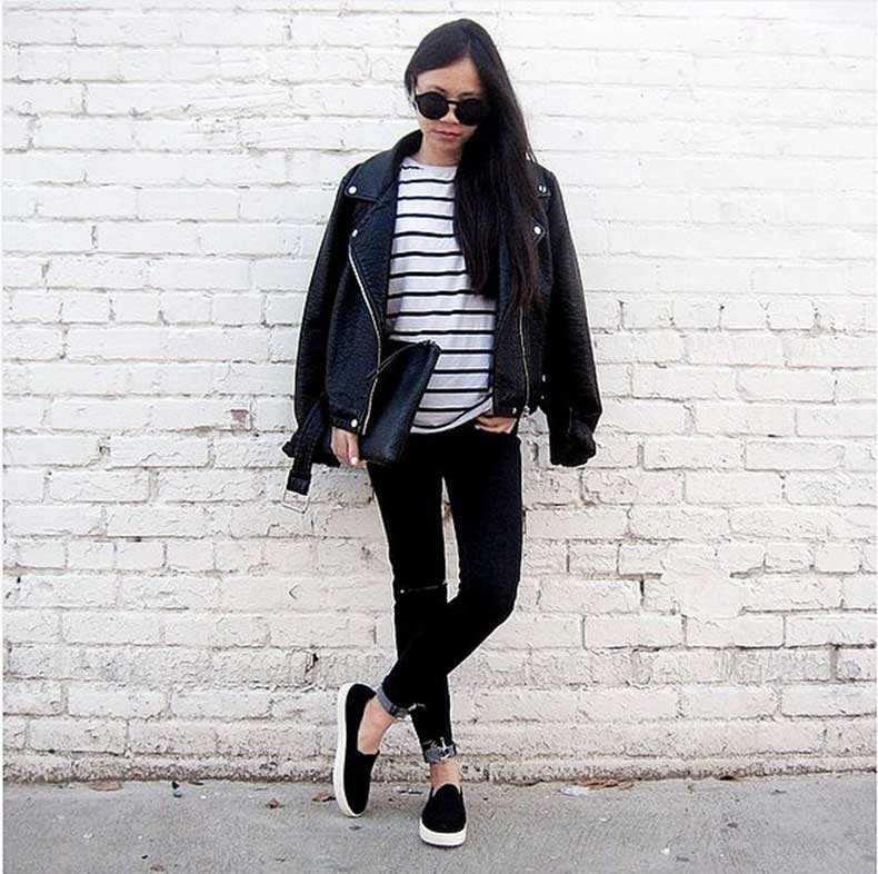 Striped-Top-Black-Bottoms-Leather-Jacket-Sneakers