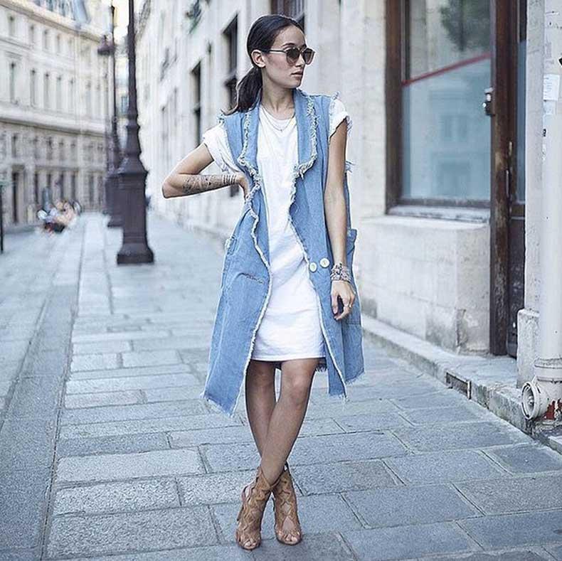 T-Shirt-Dress-Long-Vest-Heeled-Sandals