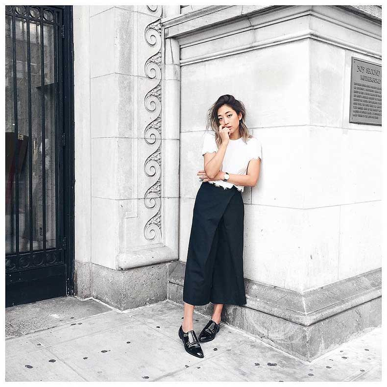 White-Short-Sleeved-Shirt-Culottes-Loafers