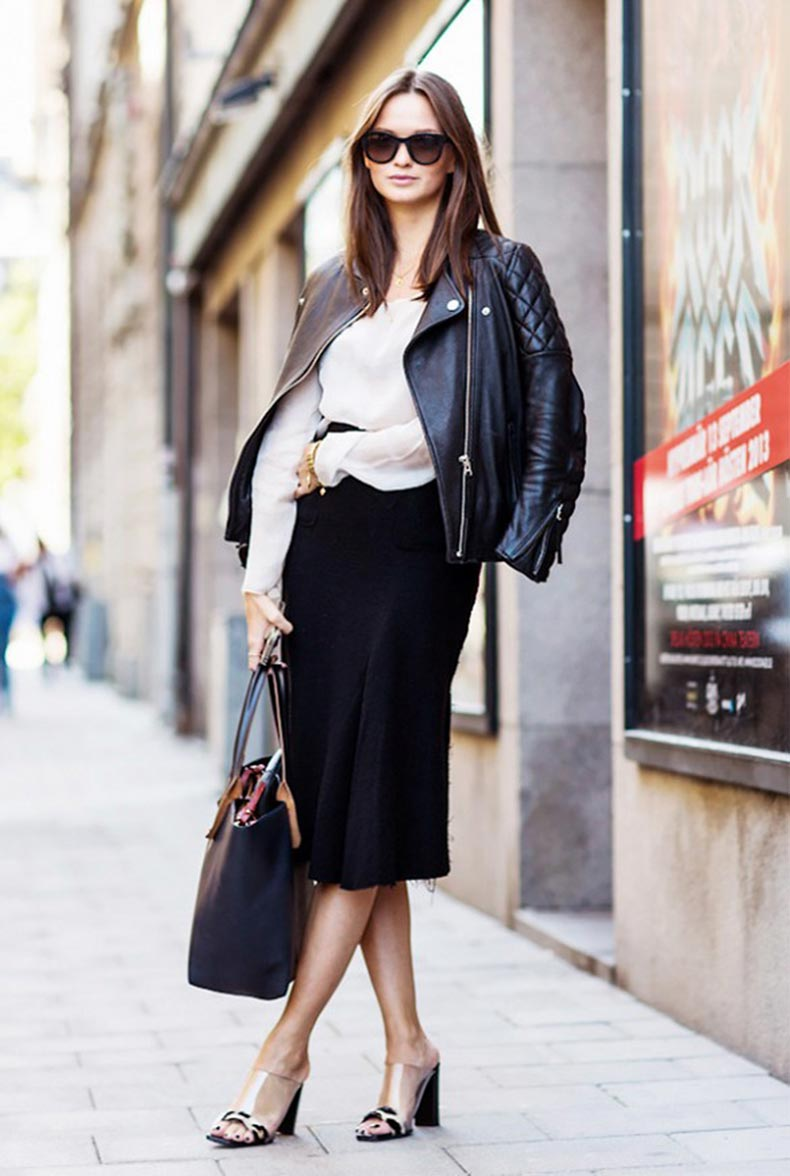 black-pencil-skirt-black-moto-jacket-mules-via-a-love-is-blind