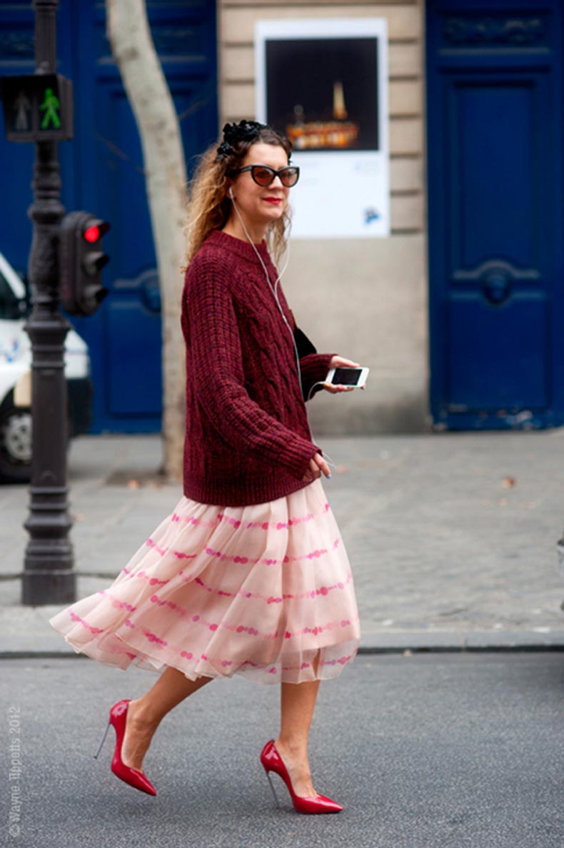 maroon-sweater-over-long-wite-and-pink-dress