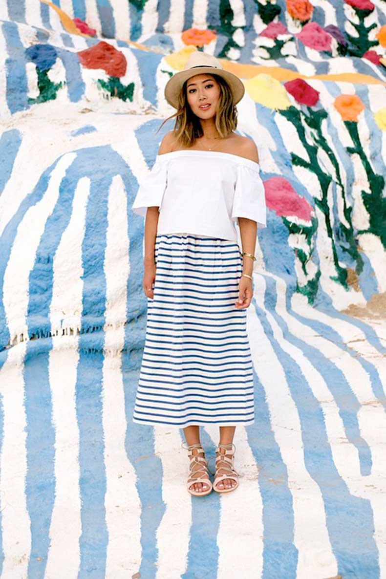 10-Le-Fashion-31-Stylish-Ways-To-Wear-An-Off-The-Shoulder-Look-White-Tibi-Top-Striped-Skirt-Aimee-Song-Of-Style