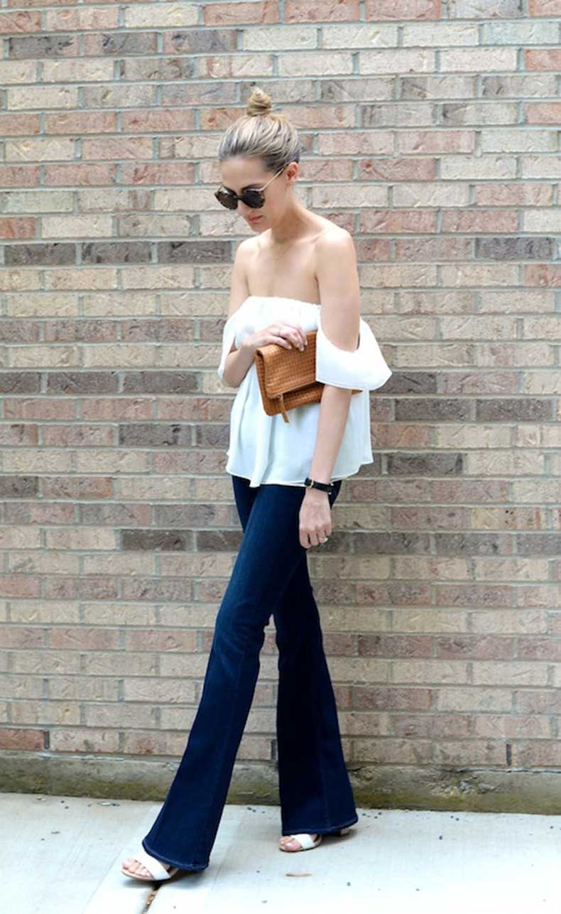 23-Le-Fashion-31-Stylish-Ways-To-Wear-An-Off-The-Shoulder-Look-White-Top-Flared-Jeans-Via-See-Anna-Jane