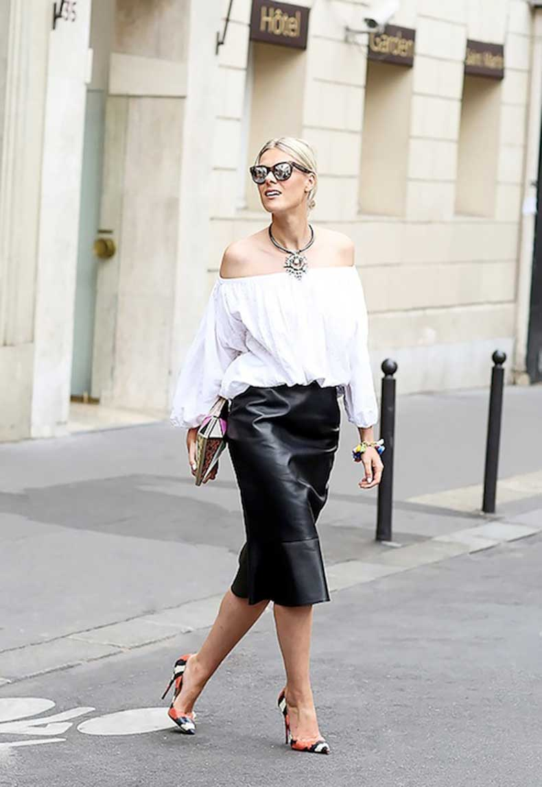 26-Le-Fashion-31-Stylish-Ways-To-Wear-An-Off-The-Shoulder-Look-White-Top-Leather-Skirt-Python-Pumps-Street-Style-Via-Lee-Oliveira