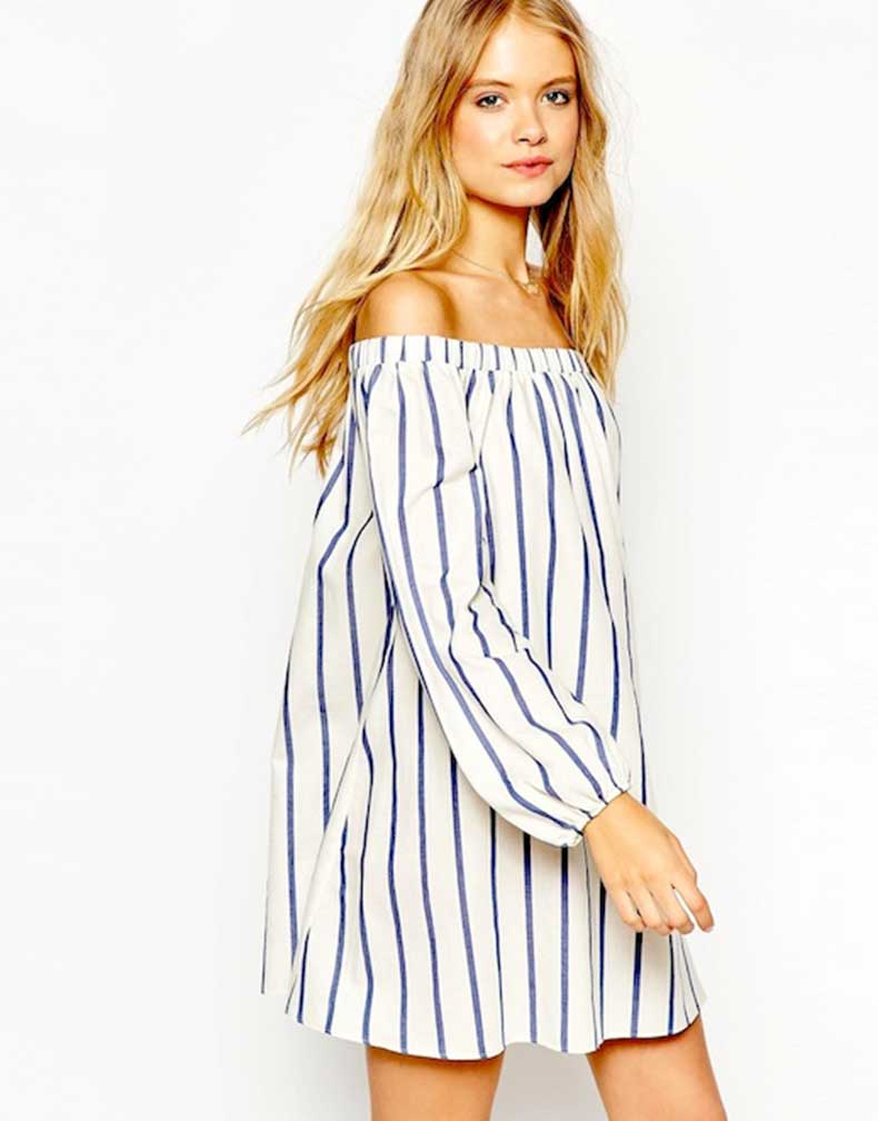 27-Le-Fashion-31-Stylish-Ways-To-Wear-An-Off-The-Shoulder-Look-ASOS-Swing-Dress-With-Off-Shoulder-Detail-In-Wide-Stripe