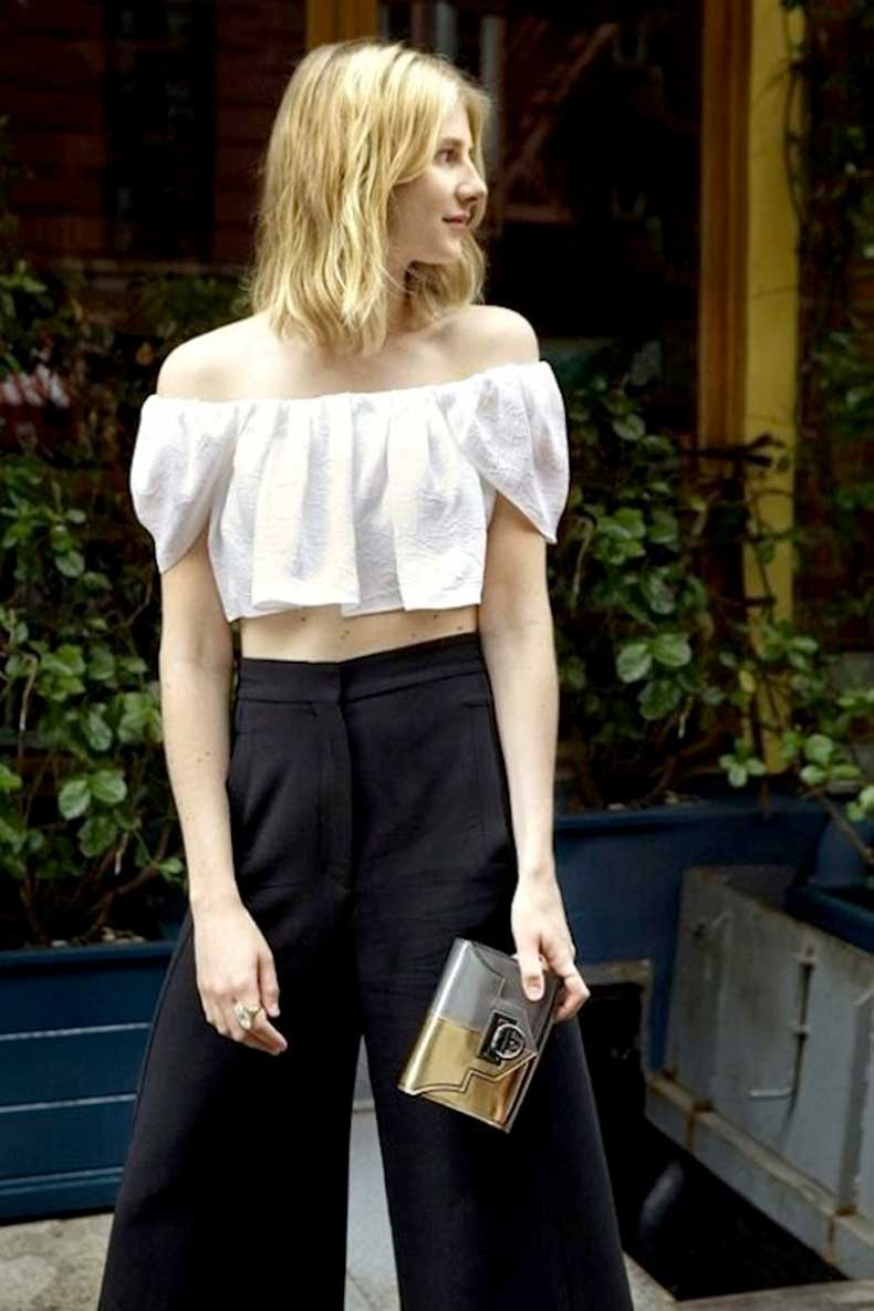 28-Le-Fashion-31-Stylish-Ways-To-Wear-An-Off-The-Shoulder-Look-White-Top-High-Waisted-Black-Pants-Laura-Stoloff-Via-Reece-Hudson