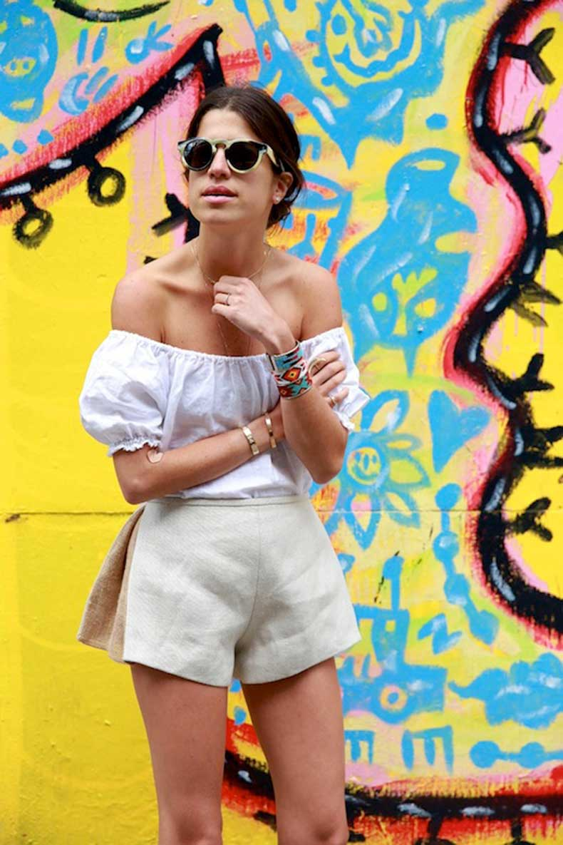 29-Le-Fashion-31-Stylish-Ways-To-Wear-An-Off-The-Shoulder-Look-White-Top-Shorts-Via-Man-Repeller