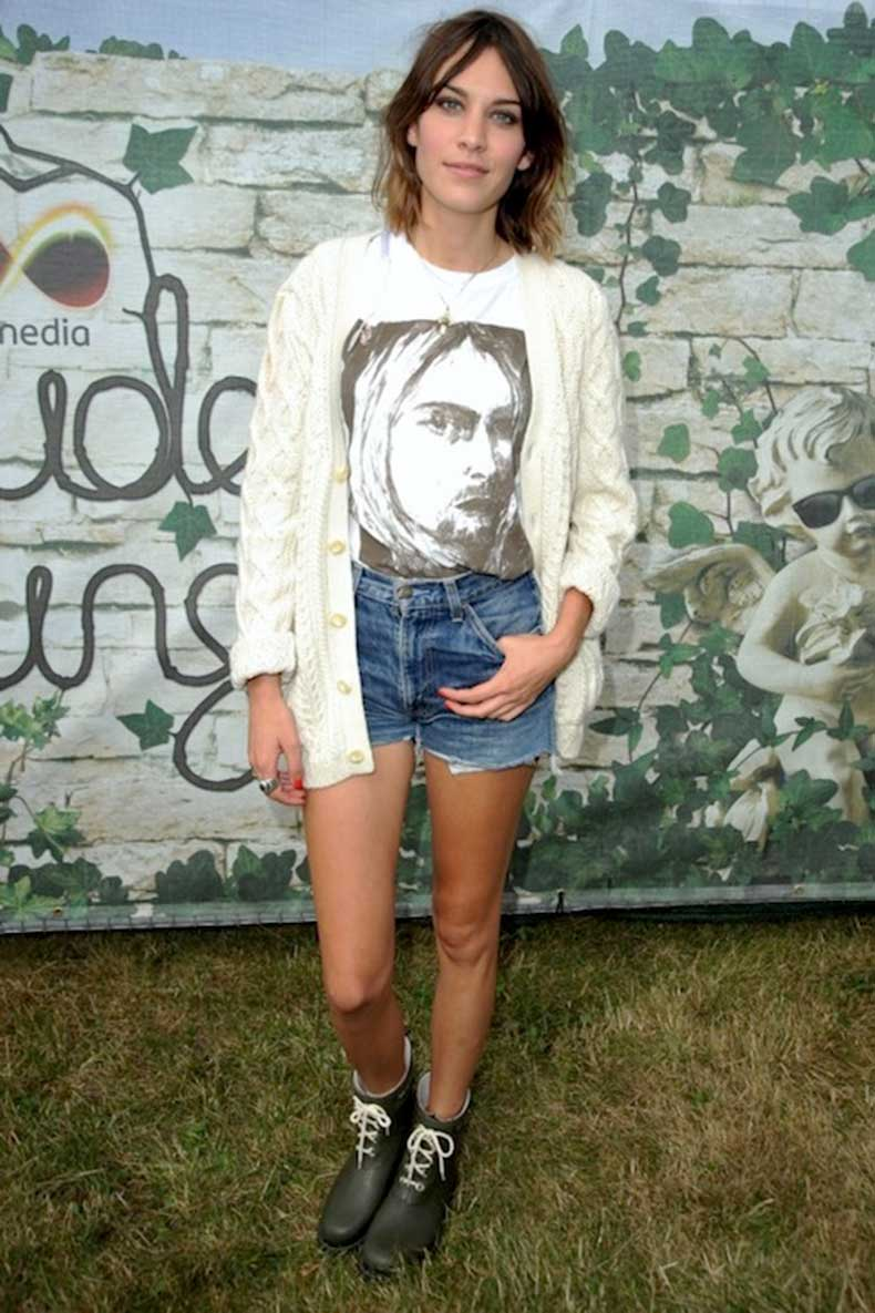 31-Le-Fashion-Blog-40-Of-Alexa-Chung-Best-Looks-With-Denim-Shorts--Kurt-Cobain-Tee-Cardigan-Rubber-Boots-Jean-Cut-Offs-Via-InStyle-UK