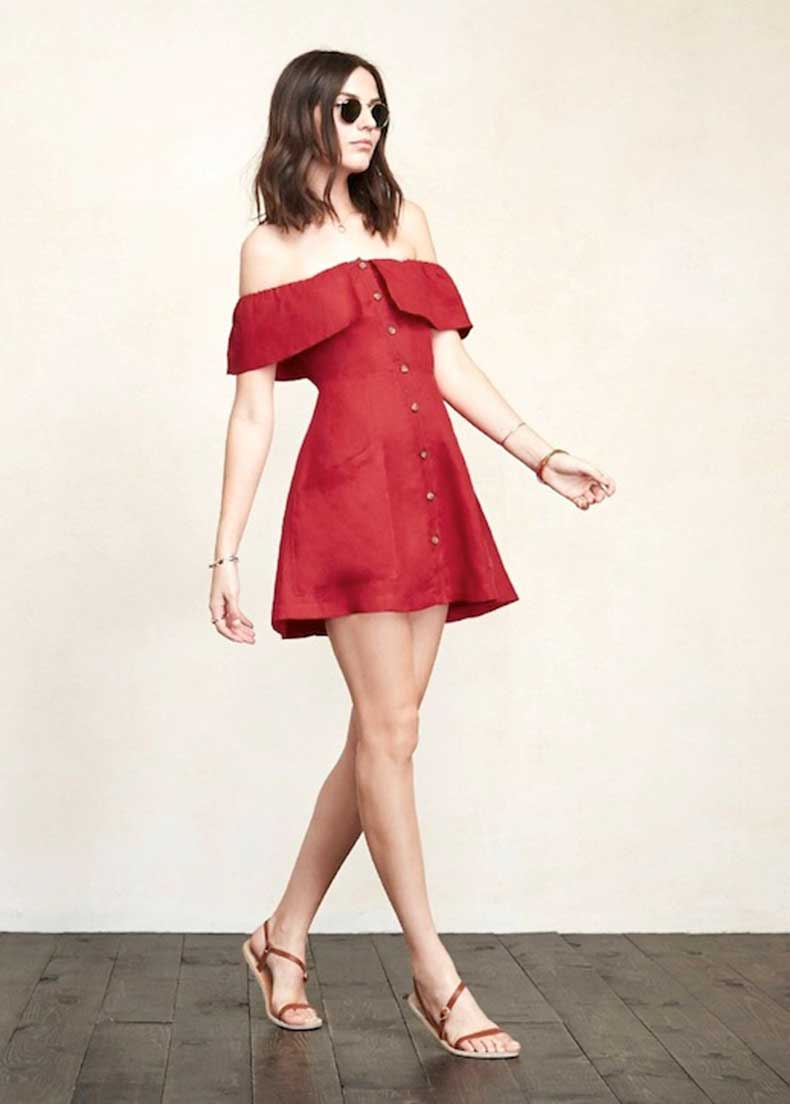 4-Le-Fashion-31-Stylish-Ways-To-Wear-An-Off-The-Shoulder-Look-Red-Reformation-Dress-Sandals-Summer-Style