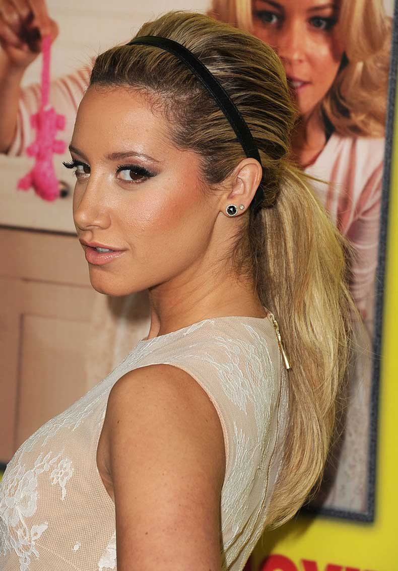 Adding-basic-headband-low-ponytail-like-Ashley-Tisdale