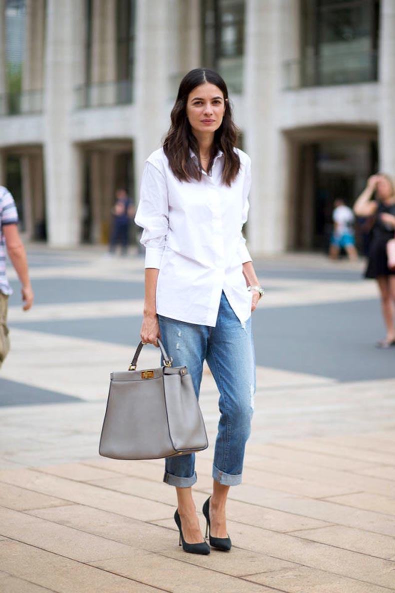 Le-Fashion-Blog-NYFW-Street-Style-Leila-Yavari-Simple-Classics-White-Shirt-Boyfriend-Jeans-Fendi-Peekaboo-Bag-Via-Harpers-Bazaar