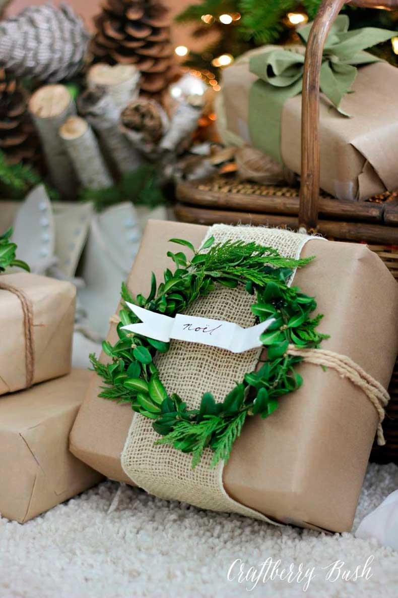 0Package-wrapped-in-kraft-paper-and-burlap-with-a-boxwood-wreath-gift-tag....beautiful-and-neutral-wrapping