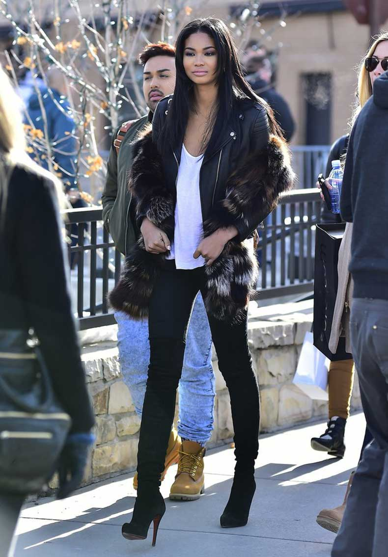 Chanel-Iman-wore-fur-coat-over-her-leather-jacket-stayed-cool